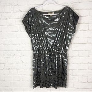 Arden B Zebra Sequin Gray Cap Sleeve Mini Dress M